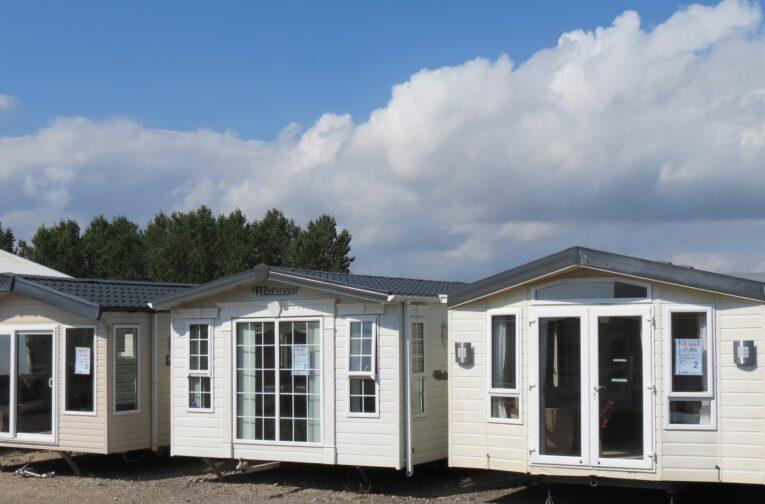 UK staycation, static caravan in garden